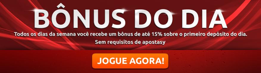 Bônus do dia Todos os dias da semana você recebe um bônus de até 15% sobre o primeiro depósito do dia. Sem requisitos de apostas Jogue agora!